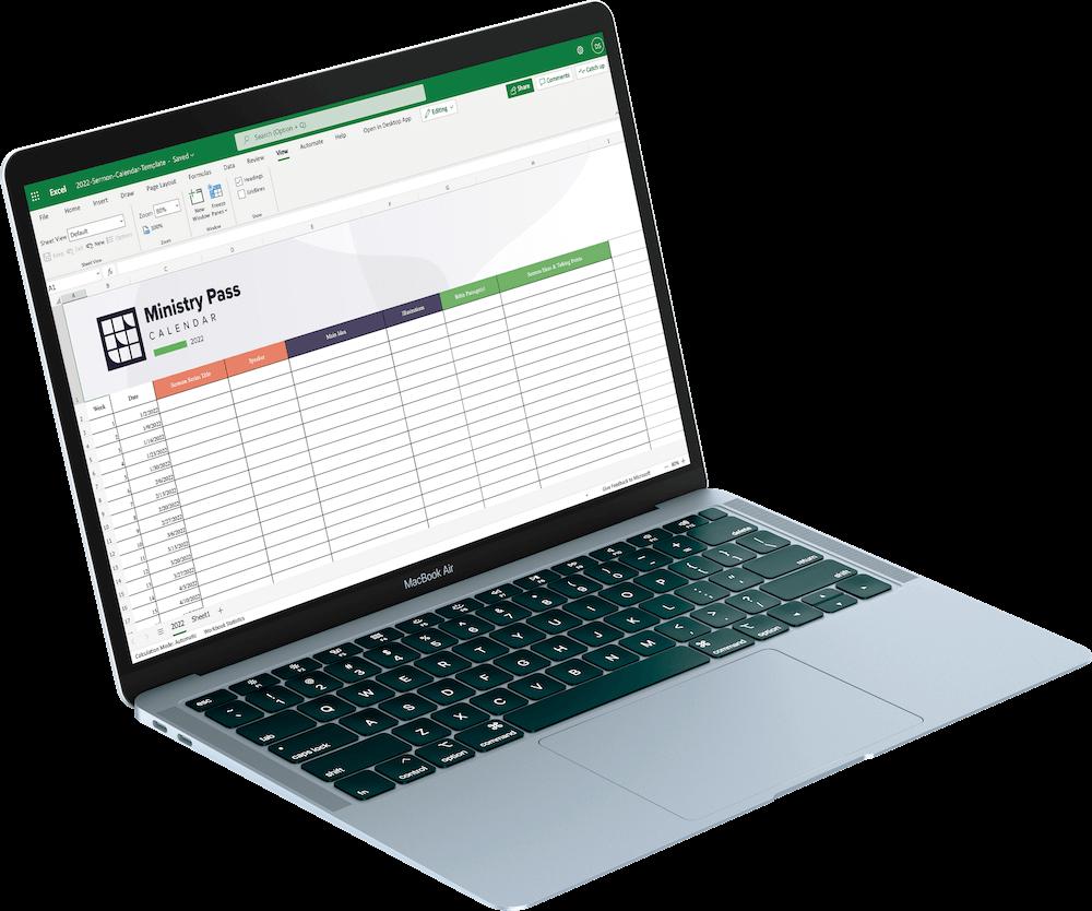 Sermon Calendar Excel Template Mockup Image
